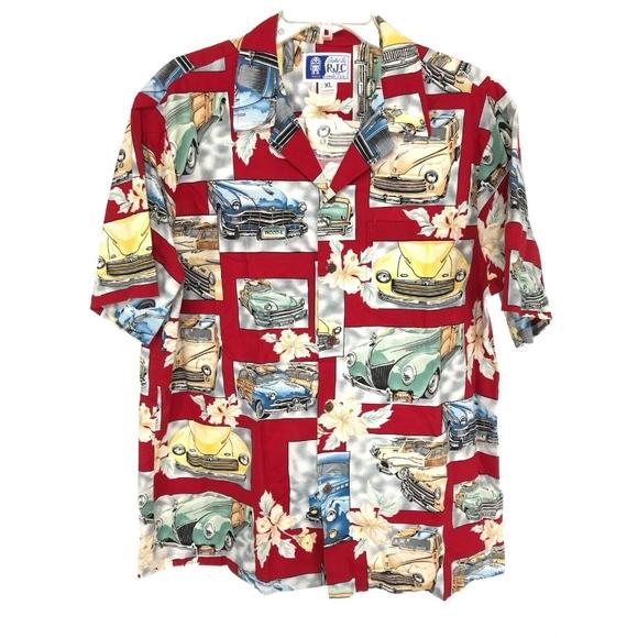 8dc219597 RJC Shirts | Mens Button Front Hawaiian Shirt Xl Red Cars | Poshmark